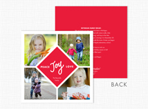 Peace Joy Love Square Flat 4 Photo Holiday Card